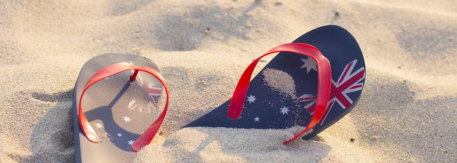 žabky na pláži v Austrálii